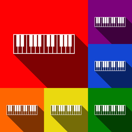 Piano Keyboard sign. Vector. Set of icons with flat shadows at red, orange, yellow, green, blue and violet background.
