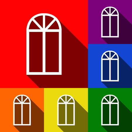 Window simple sign. Vector. Set of icons with flat shadows at red, orange, yellow, green, blue and violet background.