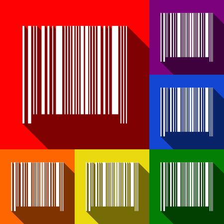 Bar code sign. Vector. Set of icons with flat shadows at red, orange, yellow, green, blue and violet background.