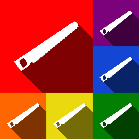 Saw simple sign. Vector. Set of icons with flat shadows at red, orange, yellow, green, blue and violet background.