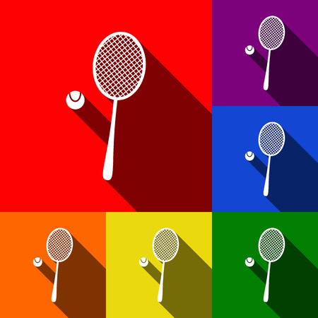 Tennis racquet sign. Vector. Set of icons with flat shadows at red, orange, yellow, green, blue and violet background.