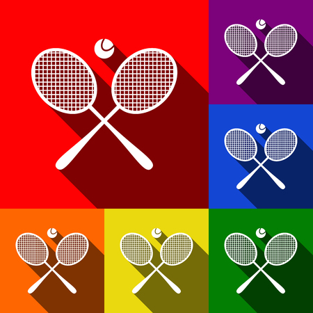 handled: Tennis racket sign. Vector. Set of icons with flat shadows at red, orange, yellow, green, blue and violet background.