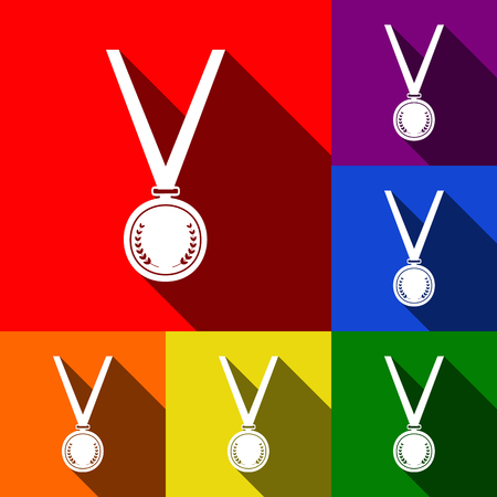 Medal simple sign. Vector. Set of icons with flat shadows at red, orange, yellow, green, blue and violet background.