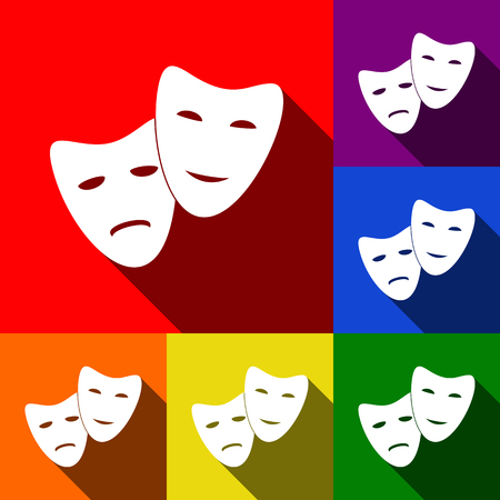 Theater icon with happy and sad masks. Vector. Set of icons with flat shadows at red, orange, yellow, green, blue and violet background. Çizim