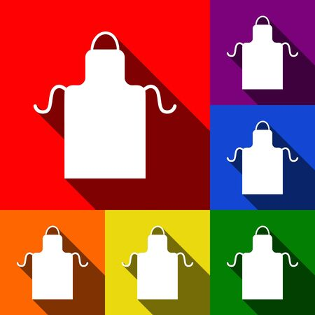 textile industry: Apron simple sign. Vector. Set of icons with flat shadows at red, orange, yellow, green, blue and violet background.