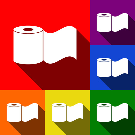 Toilet Paper sign. Vector. Set of icons with flat shadows at red, orange, yellow, green, blue and violet background.