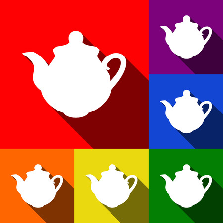 Tea maker Kitchen sign. Vector. Set of icons with flat shadows at red, orange, yellow, green, blue and violet background. Illustration