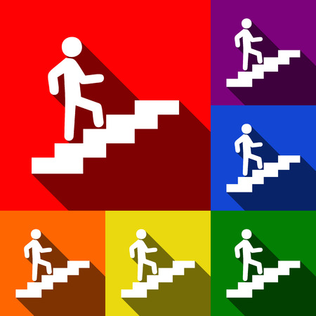 Man on Stairs going up. Vector. Set of icons with flat shadows at red, orange, yellow, green, blue and violet background.
