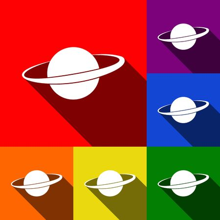 Planet in space sign. Vector. Set of icons with flat shadows at red, orange, yellow, green, blue and violet background.