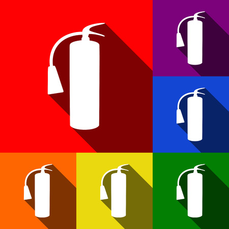 flammable warning: Fire extinguisher sign. Vector. Set of icons with flat shadows at red, orange, yellow, green, blue and violet background. Illustration