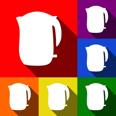 Electric kettle sign. Vector. Set of icons with flat shadows at red, orange, yellow, green, blue and violet background. Illustration