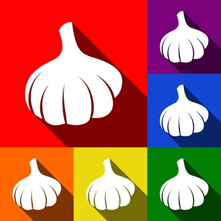 Garlic simple sign. Vector. Set of icons with flat shadows at red, orange, yellow, green, blue and violet background.