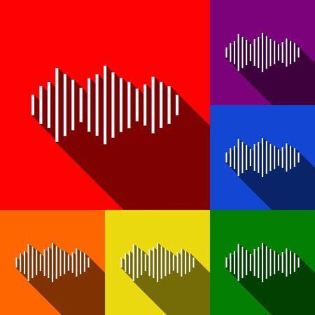 Sound waves icon. Vector. Set of icons with flat shadows at red, orange, yellow, green, blue and violet background. Illustration