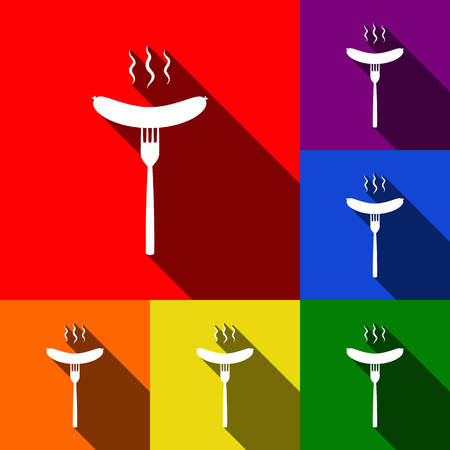 roast lamb: Sausage on fork sign. Vector. Set of icons with flat shadows at red, orange, yellow, green, blue and violet background.