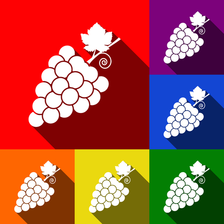 Grapes sign illustration. Vector. Set of icons with flat shadows at red, orange, yellow, green, blue and violet background.