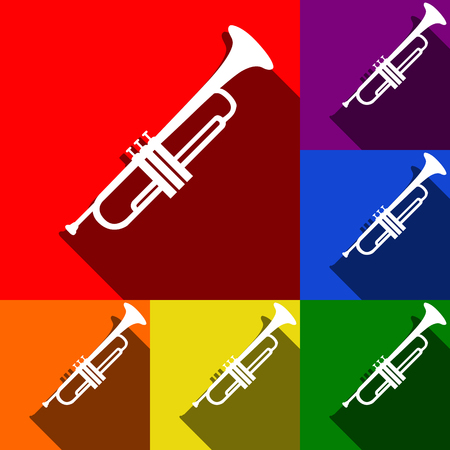 Musical instrument Trumpet sign. Vector. Set of icons with flat shadows at red, orange, yellow, green, blue and violet background.