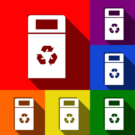 trashing: Trashcan sign illustration. Vector. Set of icons with flat shadows at red, orange, yellow, green, blue and violet background. Illustration
