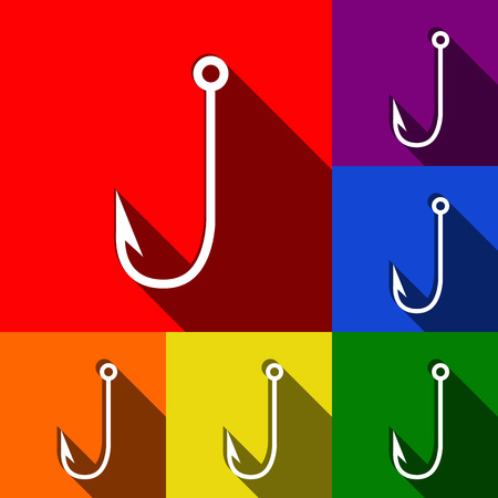 Fishing Hook sign illustration. Vector. Set of icons with flat shadows at red, orange, yellow, green, blue and violet background. Illustration