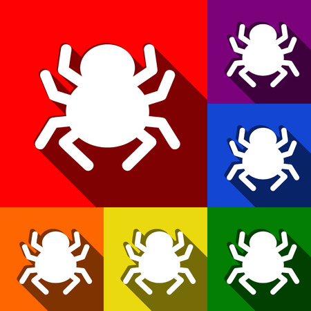 Spider sign illustration. Vector. Set of icons with flat shadows at red, orange, yellow, green, blue and violet background.