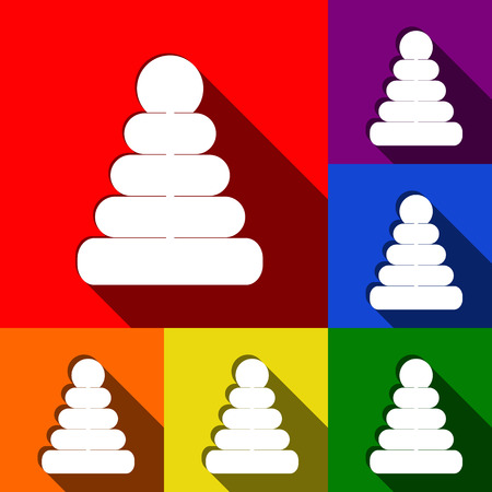 Pyramid sign illustration. Vector. Set of icons with flat shadows at red, orange, yellow, green, blue and violet background. Illustration
