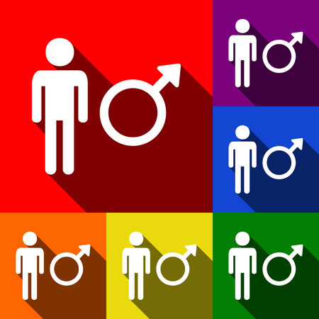 andropause: Male sign illustration. Vector. Set of icons with flat shadows at red, orange, yellow, green, blue and violet background.