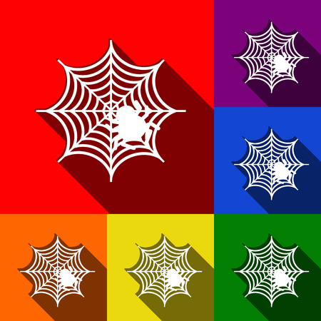 Spider on web illustration Vector. Set of icons with flat shadows at red, orange, yellow, green, blue and violet background. Illustration
