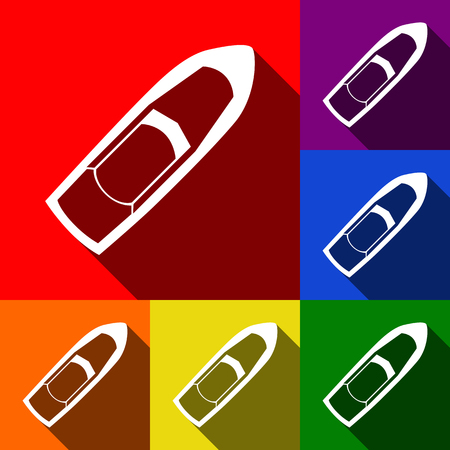 motorboat: Boat sign. Vector. Set of icons with flat shadows at red, orange, yellow, green, blue and violet background.