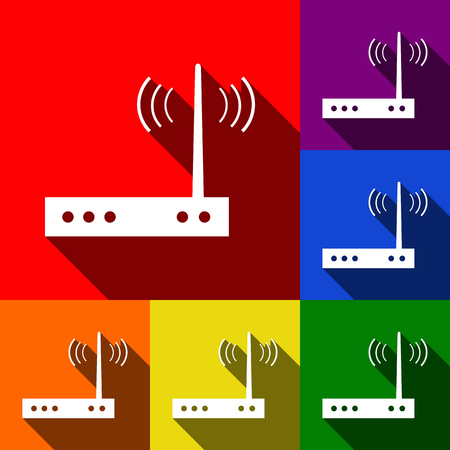 Wifi modem sign. Vector. Set of icons with flat shadows at red, orange, yellow, green, blue and violet background.