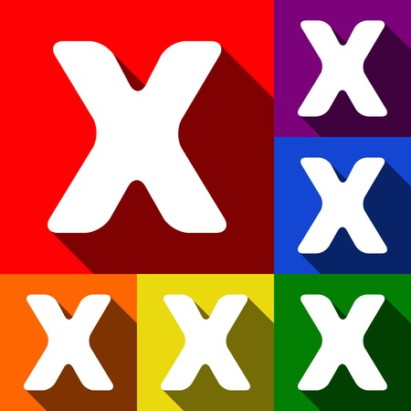 Letter X sign design template element.