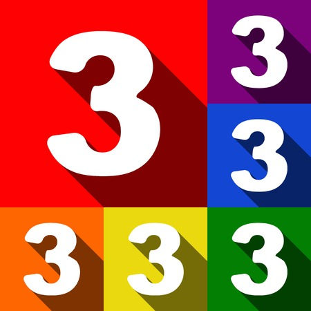 Number 3 sign design template element. Vector. Set of icons with flat shadows at red, orange, yellow, green, blue and violet background.