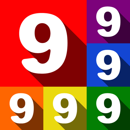 Number 9 sign design template element. Vector. Set of icons with flat shadows at red, orange, yellow, green, blue and violet background.
