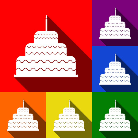 Cake with candle sign. Vector. Set of icons with flat shadows at red, orange, yellow, green, blue and violet background.