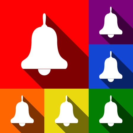 Bell Alarm, handbell sign. Vector. Set of icons with flat shadows at red, orange, yellow, green, blue and violet background.