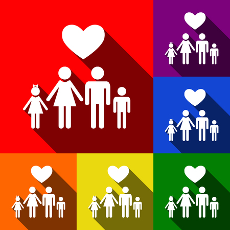 family: Family symbol with heart. Husband and wife are kept childrens hands. Love. Vector. Set of icons with flat shadows at red, orange, yellow, green, blue and violet background.