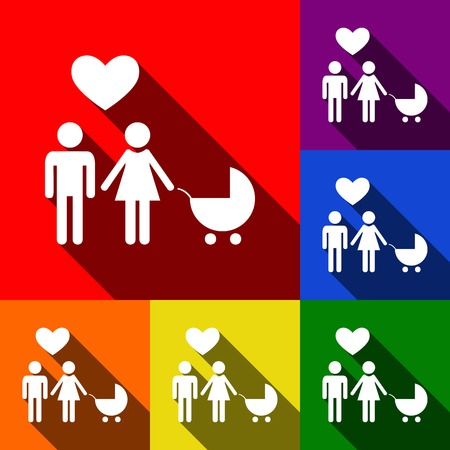 Family symbol with pram and heart. Husband and wife are kept each other`s hands. Love. Vector. Set of icons with flat shadows at red, orange, yellow, green, blue and violet background.