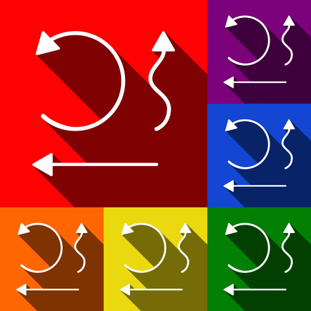 Simple set to Interface Arrows Vector. Set of icons with flat shadows at red, orange, yellow, green, blue and violet background.