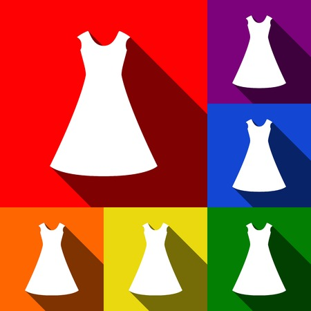 beautiful long dress sign Vector. Set of icons with flat shadows at red, orange, yellow, green, blue and violet background.