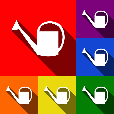 Watering sign. Vector. Set of icons with flat shadows at red, orange, yellow, green, blue and violet background.