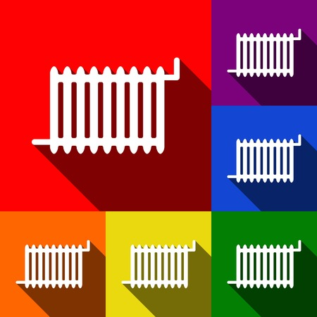 boiler: Radiator sign. Vector. Set of icons with flat shadows at red, orange, yellow, green, blue and violet background.