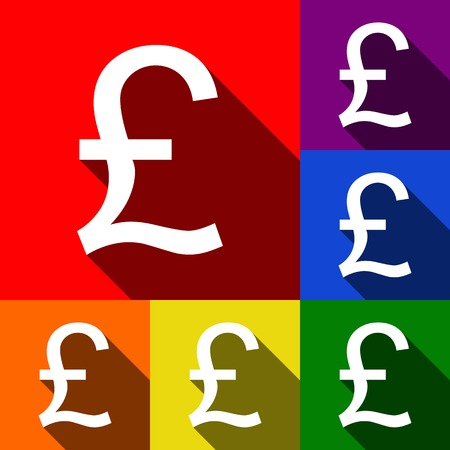 Turkish lira sign. Vector. Set of icons with flat shadows at red, orange, yellow, green, blue and violet background.