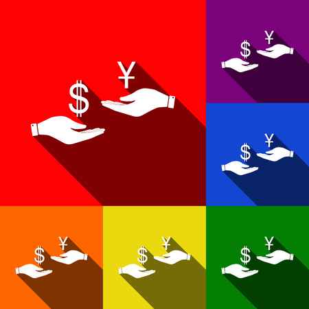 Currency exchange from hand to hand. Dollar and Yuan. Vector. Set of icons with flat shadows at red, orange, yellow, green, blue and violet background.