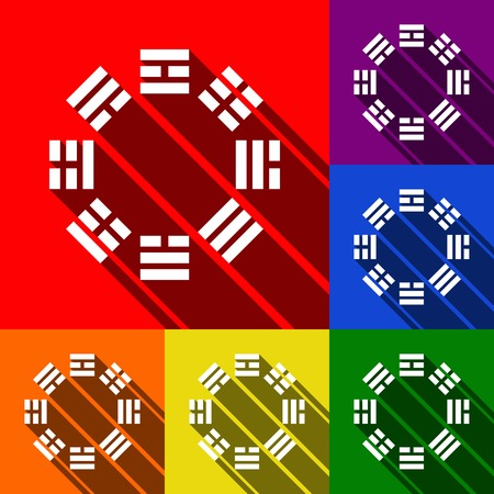 trigram: Bagua sign. Vector. Set of icons with flat shadows at red, orange, yellow, green, blue and violet backgrounds. Illustration