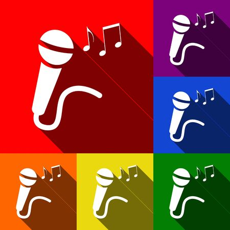 amplify: Microphone sign with music notes. Vector. Set of icons with flat shadows at red, orange, yellow, green, blue and violet background.