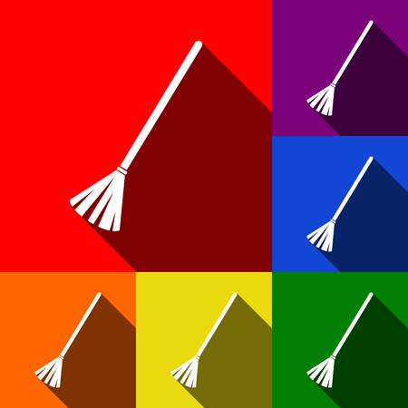 Sweeping broom sign. Vector. Set of icons with flat shadows at red, orange, yellow, green, blue and violet backgrounds.