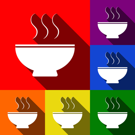 cereal bar: Soup sign. Vector. Set of icons with flat shadows at red, orange, yellow, green, blue and violet backgrounds.
