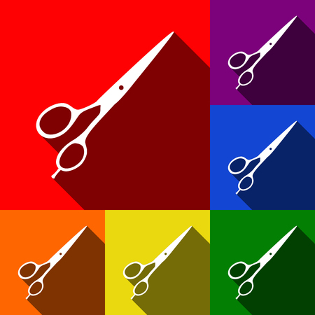 Hair cutting scissors sign. Vector. Set of icons with flat shadows at red, orange, yellow, green, blue and violet background.