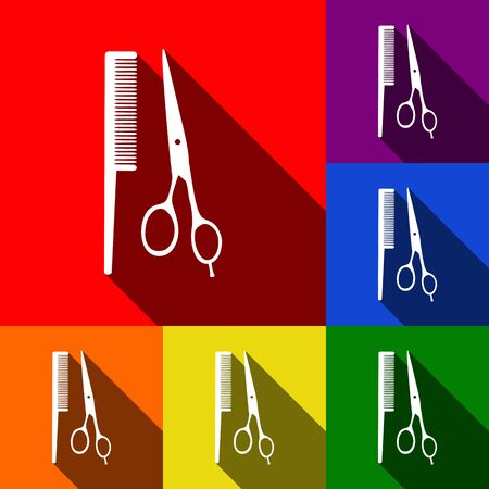 Barber shop sign. Vector. Set of icons with flat shadows at red, orange, yellow, green, blue and violet backgrounds.