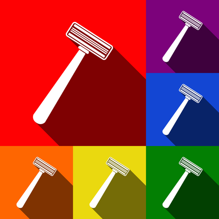 Safety razor sign. Vector. Set of icons with flat shadows at red, orange, yellow, green, blue and violet background.