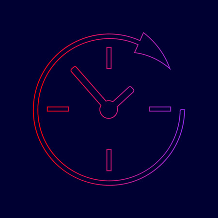 Service and support for customers around the clock and 24 hours. Vector. Line icon with gradient from red to violet colors on dark blue background.