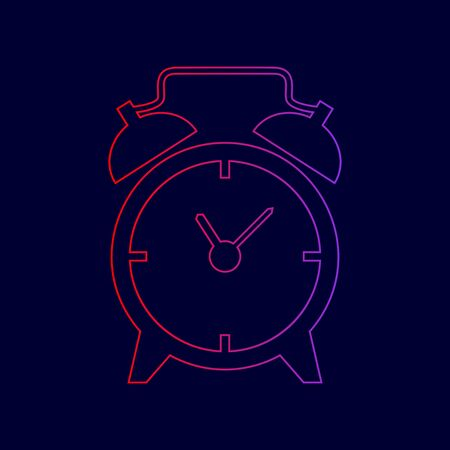 Alarm clock sign. Vector. Line icon with gradient from red to violet colors on dark blue background.